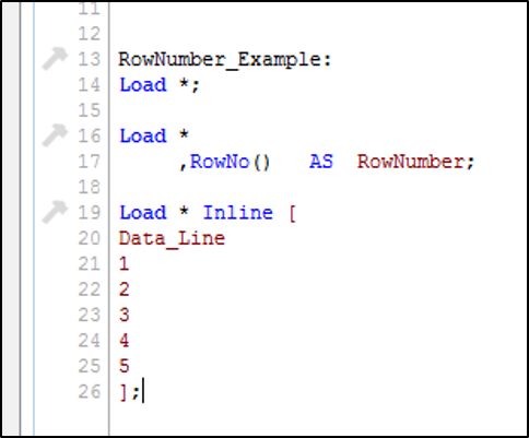 QlikView RowNo() Example