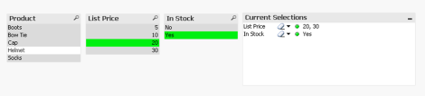 QlikView Selections Made